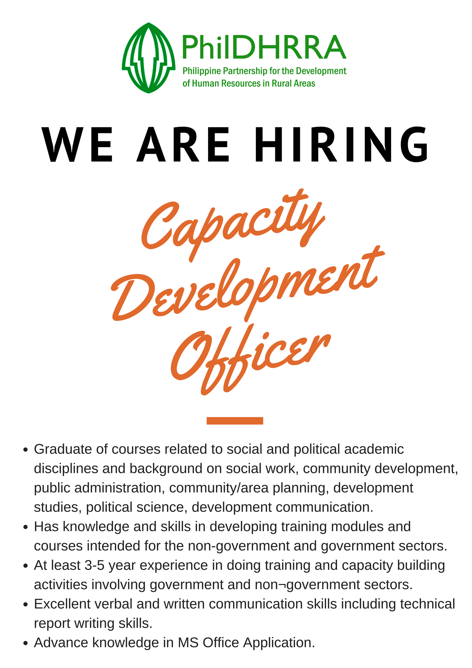 WE ARE HIRING: Capacity Development Officer