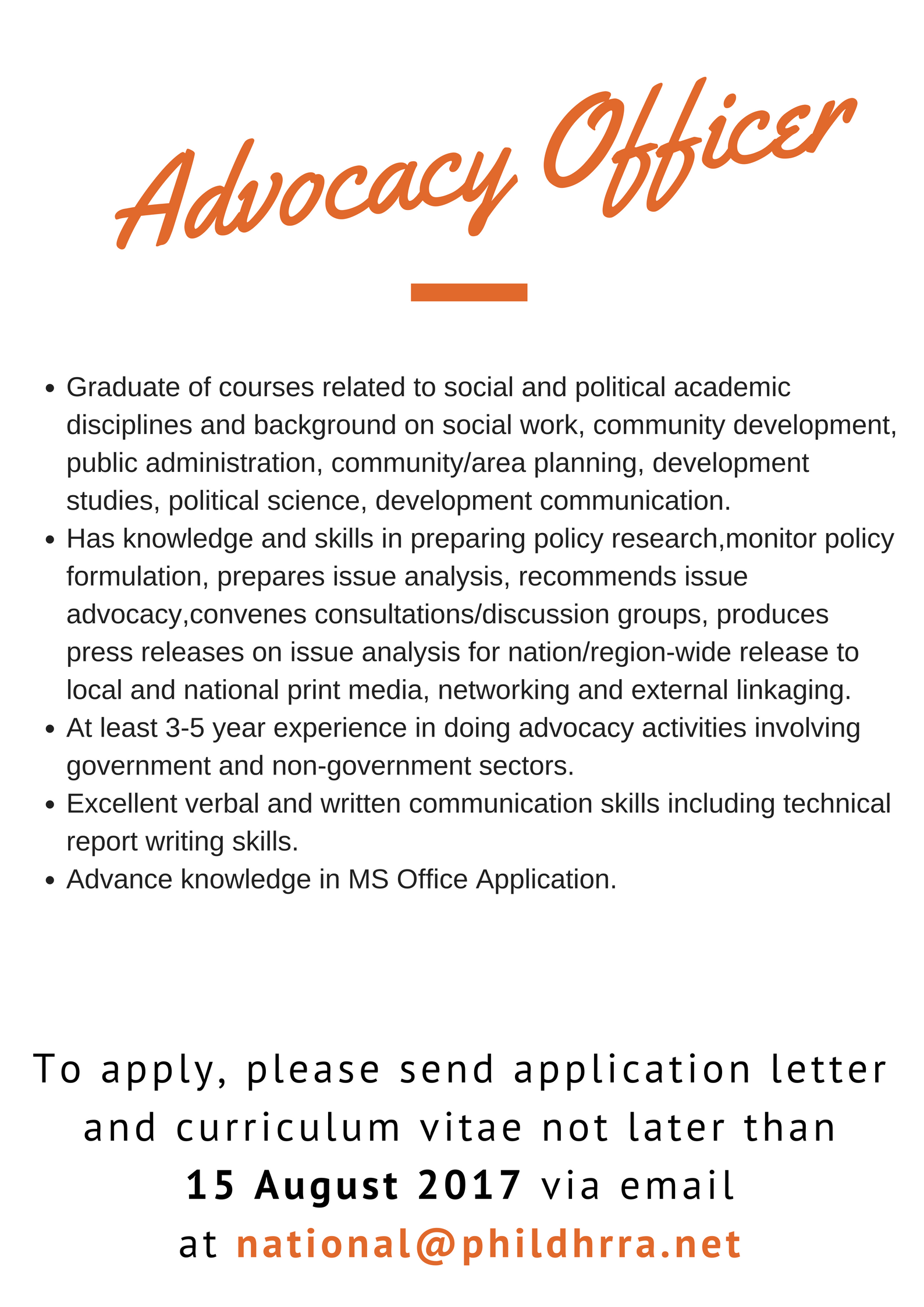 WE ARE HIRING: Advocacy Officer